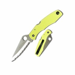 Spyderco Pacific Salt Yellow Serrated Edge Lock Back Overall Length 8.63Inches H1 Handle Blade