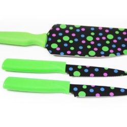 Kuhn Rikon 3 Piece Herb & Vegetable Flexi Knife Set Polka Dot Green