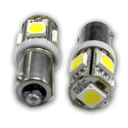 Genssi 5 Smd Ba9 Ba9S Miniature Bayonet Led Bulb (Pack Of 10) (White)