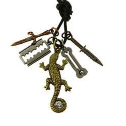 Lizard Razor Blade Knife Charm Faux Leather Necklace