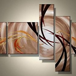 Sangu Gift 100% Hand-Painted Hot Selling Framed 5-Piece The Extension Of The Universe Abstract Oil Paintings Canvas Wall Art For Home Decoration(12X12Inchx3, 8X24Inchx2)