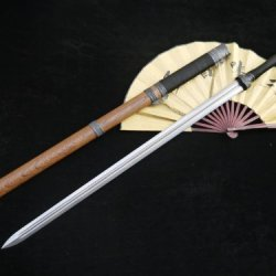 Wolong Sword Sale/Damascus Steel Handmade Blade/Alloy Fittings/Rosewood Scabbard