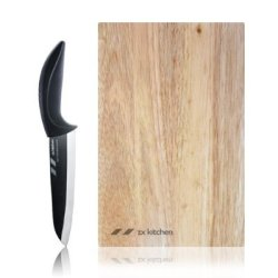 "Zx Kitchen Slice Set - 6"" Black Ceramic Chef Knife And Cutting Board"