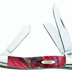 Case Cutlery 9318Cs Coral Sea Medium Stockman Corelon Pocket Knife With Stainless Steel Blades, Red/Blue