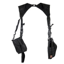 Armstac® Vertical Shoulder Holster [S7] Pistol Holster With Adjustable Straps, Quick Release Buckle Clip, Spare Pouches, In Black Color + Armstac® Lifetime Warranty & Tech Support