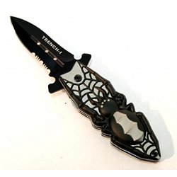 """New 6"""" Folding Spring Assisted Knife With A Spider Design On The Handle Good Quality"""