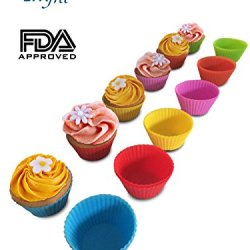 All Times Finest Set Of 12 Reusable Colorful Silicone Baking Cups. Comes With Ebook Containing Kitchen Cupcake Recipes! Non-Stick Liners In Storage Container. Order Now And Never Buy Paper Cups Ever Again!