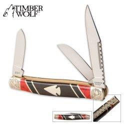 Timber Wolf Southwestern Design Arrowhead Stockman Pocket Knife