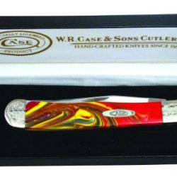 Case Cutlery 9254Fib/E Fire In Box Corelon Engraved Trapper Pocket Knife With Stainless Steel Blades Red, White And Yellow Mixed Corelon