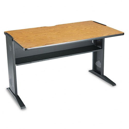 Picture of Comfortable Safco Products - Safco - Computer Desk W/ Reversible Top, 48w x 28d x 30h, Mahogany/Medium Oak/Black - Sold As 1 Each - Melamine top reverses during setup for a choice of mahogany or medium oak finish. - Black steel base with full-width 6-3/4