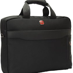 Swiss Travel Gear 14 Inch Laptop Macbook Computer Pc Single Shoulder Messengers Bag. For Tablet Ipad 2 3 4 Air Pro Plus.Outdoor Exercise Sport Pocket.Business And Casual School Fashion Stg77Ss3-Black