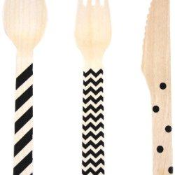Dress My Cupcake Stamped WoodenCutlery Set, Chevron/Striped/Polka Dot, Black, 18-Pack