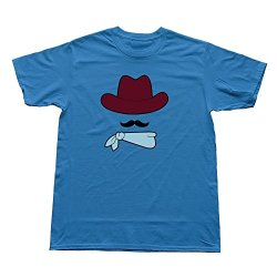 Goldfish Men'S Art Pre-Cotton Cowboy Hat Moustache Bandana T-Shirt Royalblue Us Size M