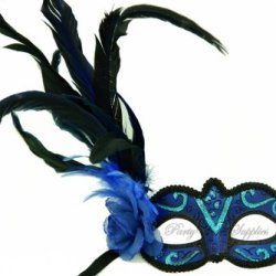 Blue Masquerade Mask Fancy Side Feather Venetian Prom Party Mask