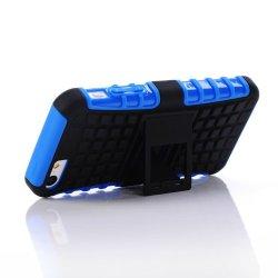 Meaci® Iphone 5C Case Blue 2 In 1 Tpu Stand Kickstand Defender Silicon Rubber&Pc Hard Case 1X Free Anti-Dust Plug Stopper(Random Color)