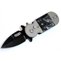 "New 5"" (S/A) Black & Grey Mini Push Button Knife Metal Handle W/Belt Clip"