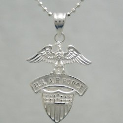 "Us Air Force .925 Silver Pendant Necklace - Gifts For Men And Women - Usaf Military Jewery - United States Air Force Charm And Chain - Usaf Emblem (20"" Chain And Pendant, .925 Sterling Silver)"