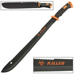 Warning!! Zombie Killer Macabre Bolo Machete Knife Bio-Hazard Orange