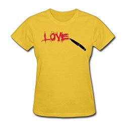Lzf Women'S Love Knife Scratched Cotton T-Shirt Xs Gold