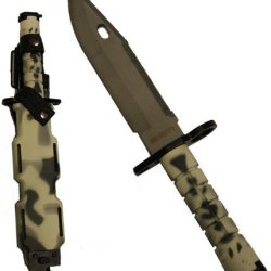 Ultimate Arms Gear Tactical Limited Edition Urban / Snow Camo Camouflage Handle Stainless Steel M9 M-9 Military Survival Blade Bayonet Knife With Tactical Sheath Scabbard