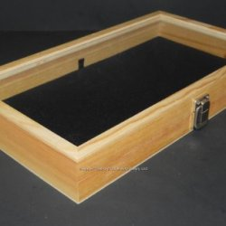 Natural Wood Glass Top Lid Black Pad Display Box Case Medals Awards Jewelry Knife
