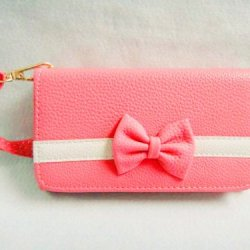 Bowknot Bow Girl Cute Lovely Leather Wallet Purse Flip Smart-Phone Wristlet Clutch Leather Wallet Case Cover Pink For Smart Mobile Phones(Doogee Dagger Dg550)
