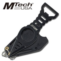 Mtech Black Bottle Opener Neck Knife With Kydex Sheath And Clip