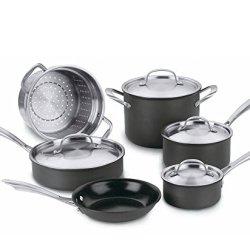 Cuisinart Green Gourmet Hard-Anodized Nonstick 10-Piece Cookware Set & Free Premium Stainless Steel Locking Tongs