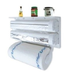 Yuns 3 In 1 Kitchen Triple Paper Dispenser & Holder Paper/ Foil/ Cling Wrap - 3 In 1 Wrap Center Holds Silver Foil, Plastic Wrap, And Paper Towels All In One - Kitchen Wrap Dispenser, Kitchen Paper Dispenser, Kitchen Paper Holder, Foil Paper, Foil Holder