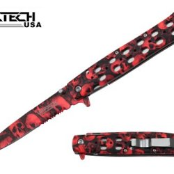 "Wartech 8"" Assisted Open Folding Pocket Knife, Red Skull Blade And Handle"