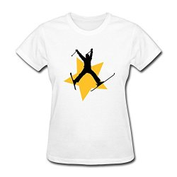 Women Ski Jump Star Funny T-Shirts Size Xl Color White