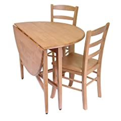 Hannah 3pc Dining Set, Drop Leaf Table with 2 Ladder Back Chairs Hannah 3pc Dining Set, Drop Leaf T
