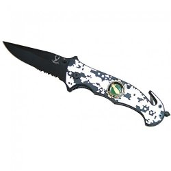 """New Tactical 4.5"""" Folding Spring Assisted Knife With Belt Clip & Belt Cutter"""