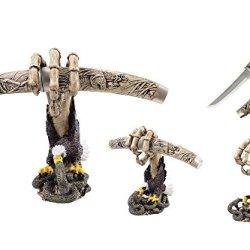 "Swordmaster - 13.5"" Poly Resin Fantasy Dagger With Skull Hand Eagle Fight Snake Stand"