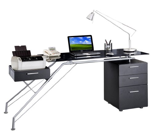 Picture of Comfortable Sharper Image SI7305-GPH06 Glass Computer Desk with Storage (B004M8RMDO) (Computer Desks)