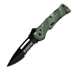 Smith & Wesson Swblop2Gs Black Ops. 2 Assisted Open Knife, Coated 40% Serrated Stainless Steel Blade, Black Blade Green Handle