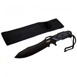 "New 12"" Full Tang Black Blade Combat Ready Hunting Knife With Sheath 6706"