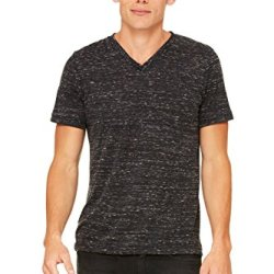 Zara Yoga Studio |La| Unisex Jersey Short Sleeve V-Neck Tee (Large/Black Marble)