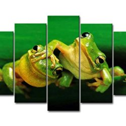 5 Panel Wall Art Painting Two Green Frogs Play In Branch Pictures Prints On Canvas Animal The Picture Decor Oil For Home Modern Decoration Print