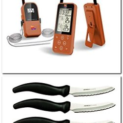 Copper Maverick Et-733 Long Range Wireless Dual Probe Bbq Smoker Meat Thermometer Set - Newest Version With A Larger Display And Added Features + Miracle Blade Steak Knives