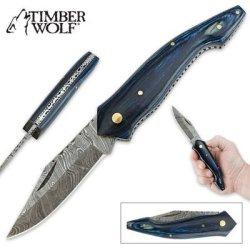 Timber Wolf Blue Pakkawood & Damascus Steel Folding Pocket Knife