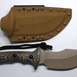"Treeman Knives ""The Beast"" Coyote Brown Skinner/Combat/Hunting Knife With Custom C4 Industries Kydex Coyote Brown Sheath"