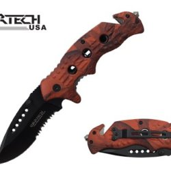 "Wartech 8"" Spring Assisted Folding Rescue Pocket Knife Orange Camo Handle"