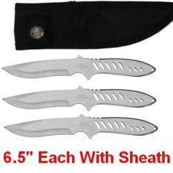 """3Pc 6.5"""" Stealth Silver Army Rangers Throwing Knives Throwers Knife Blades"""