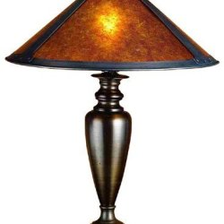 Meyda Tiffany Dirk Van Erp Tall Table Lamp Mahogany Bronze, Amber Mica