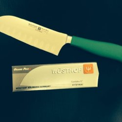 Wusthof Grand Prix Ii Santoku With Hollow-Ground Edge W/ Green Handle Limited Edition