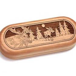 "2X5"" Box With Staghorn Pocket Knife - Moose"