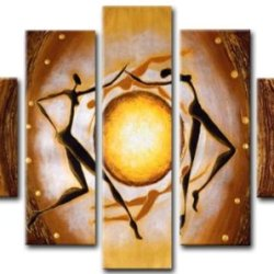 Sangu 100% Hand-Painted 5-Piece Sun Worship Africa Oil Painting Gift Canvas Wall Art For Home Decoration