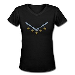 Knife Fork V Neck Womens Personalized Tee Shirt Black