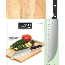 "Ginsu Stainless 7"" Santoku Knife With Cutting Board"